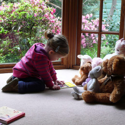child reading book about to toy animals
